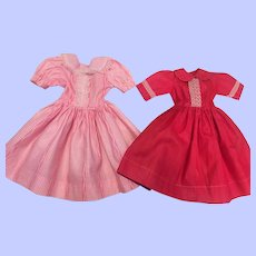 Two Factory Fashion Doll Dresses 1950s