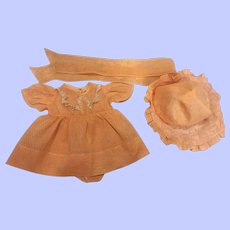 Lovely Peach Dotted Organdy Three Piece Toddler Doll Ensemble 1930s