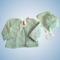 Mint-green Sweater and Bonnet for Baby Dolls 1950
