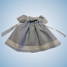 Blue and White Doll Dress for Bisque and Composition Dolls