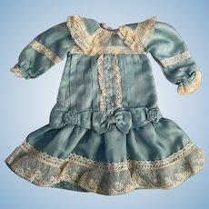 Blue Silk Dropped Waist Dress For Bisque Dolls