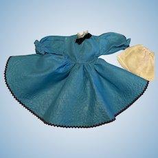 Turquoise Pique Dress for Hard Plastic Dolls 1950s