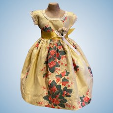 Yellow Floral Dress and Slip for Composition Dolls 1930s