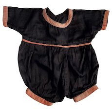 Antique Black and Peach Romper for Bisque Babies