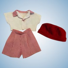 Three Piece Doll Outfit  Shirt, Knickers, Hat