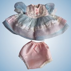 Pink and Blue Nylon Party Dress for Hard Plastic Dolls 1950s