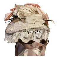 Straw Bandeau Doll Hat for Bisque Dolls