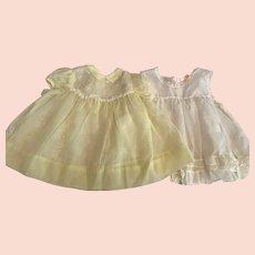 Yellow Plisse Baby Dress and Ruffled Slip 1950s