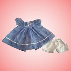 Blue Flocked Nylon Party Dress for Tiny Tears and Friends 1950s
