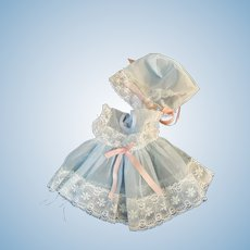 HTF Blue Nylon Party Dress, Bonnet for Tiny Tears and Friends
