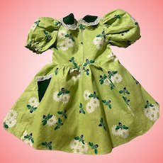 Lime Green Print Pique Dress for Large Hard Plastic Dolls 1950s