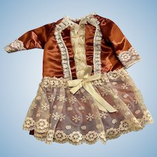 Dropped Waist Dress for Bisque Dolls Satin