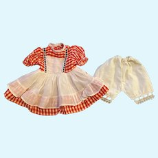 Red Gingham Taffeta Dress and Underwear for Hard Plastic Dolls