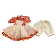 Red Gingham Taffeta Dress and Underwear for Hard Plastic Dolls