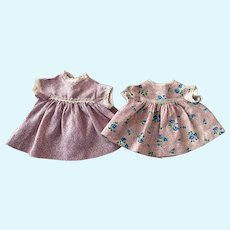 Two Sweet Cotton Dress for Toddler Dolls 1950s