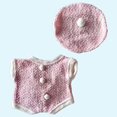 Cute two piece pink and white knit doll outfit