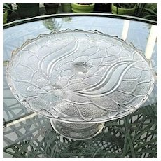 Antique 1870s Lotus Cake Stand  Portland Glass
