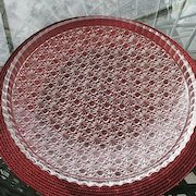 Daisy Button  Clear Shallow Platter Bowl Made in Japan