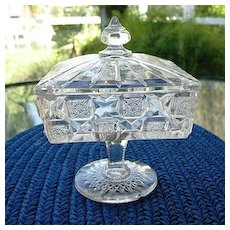 Bridal Rosette aka Checkerboard  Pedestal Covered Dish