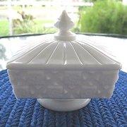 Old Quilt Milk Glass Candy Honey Pedestal Dish