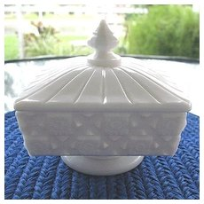 Old Quilt Milk Glass Candy Honey Pedestal Dish