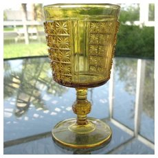 Amber Daisy in Square Two Panel Goblet 1880