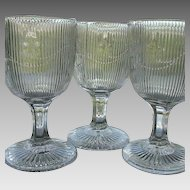 Bellflower 3 Flint Glass Goblets 6 in Single Vine Fine Rib