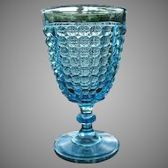 Thousand Eye 6 in. Blue Goblet 1870s Pattern