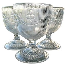Bellflower 3 Flint Glass Buttermilk Goblets Single Vine Fine Rib