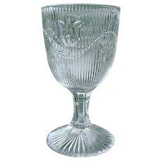 Bellflower 6 in. Flint Glass Goblet Single Vine Fine Rib