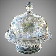 Domed Pedestal Butter Dish Elson Hobnail 1885