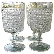 EAPG Printed Hobnail 4 Water Goblets