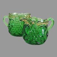 Heart Thumbprint Individual Cream Sugar Scarce Emerald Green