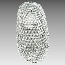 "Brilliant Cut Crystal Glass Oval Relish Dish 11"""
