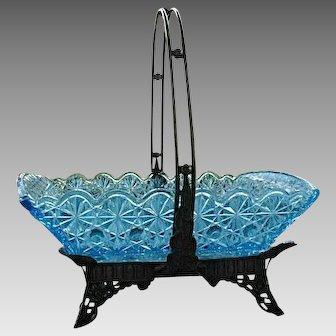 Octagon Rosette Blue Bowl with Basket Duncan 1884