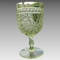 Water Goblet EAPG Daisy Button Crossbars Canary