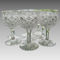 Russian Cut Crystal Wine Goblets Set 8