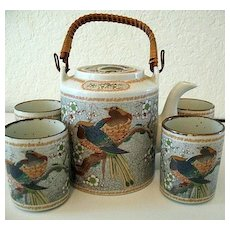 Asian Teapot  Bamboo Handle and 4 Cups Bird of Paradise