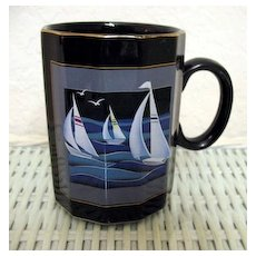 Otagiri Sailing Boats Mug Made in Japan Unusual shape