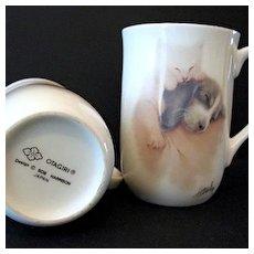 Otagiri Cups 2 Sleeping Kitten and Puppy Bone China