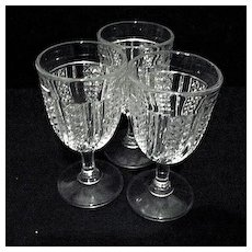 EAPG 3 Small  Wine Glasses Feather 1896-1904