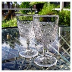 Pair EAPG Small Wine Glasses Currier Ives 1880s Pattern