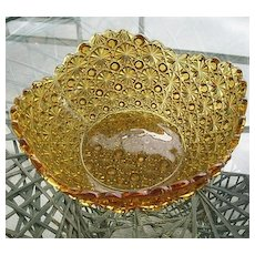 Daisy Button Large 11 in. Bowl Amber Scallop Rim Round