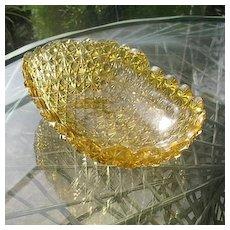 Antique Amber Daisy Button Hobbs Cradle Shape Bowl