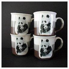 Adorable Pandas 4 Large Cups Otagiri Japan