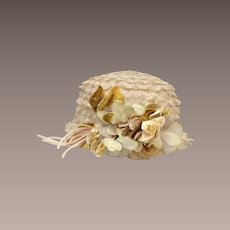 French 1920's Straw Cloche hat