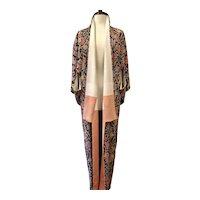 Vintage 1960's Silk Caftan Floral Kimono Jacket One Size