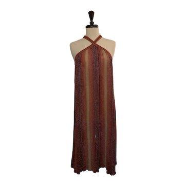 Vintage 1990's Missoni Red & Gold Sleeveless Maxi Dress