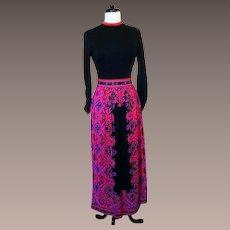Mr Dino silky jersey vibrant print maxi dress 1960s
