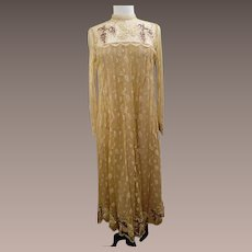 Rina diMontella Vintage Pale Golden Lace Overlay and Beaded Evening Dress